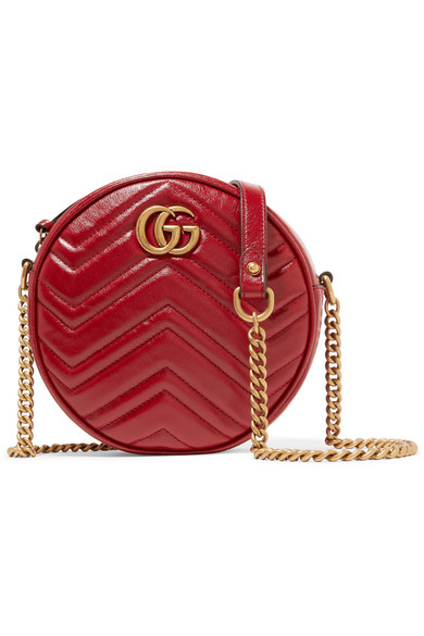 Gucci Gg Marmont Circle Quilted Leather Shoulder Bag In Red
