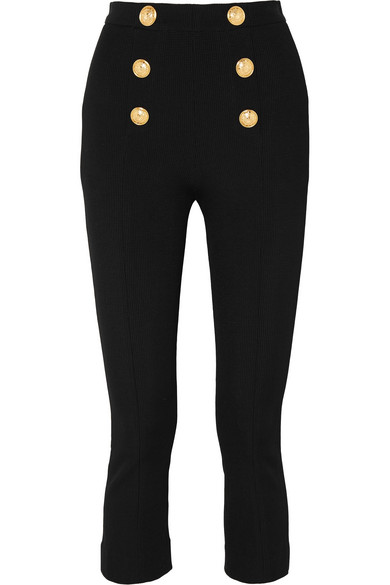 Balmain Cropped Button-Embellished Textured-Knit Bootcut Pants In Black