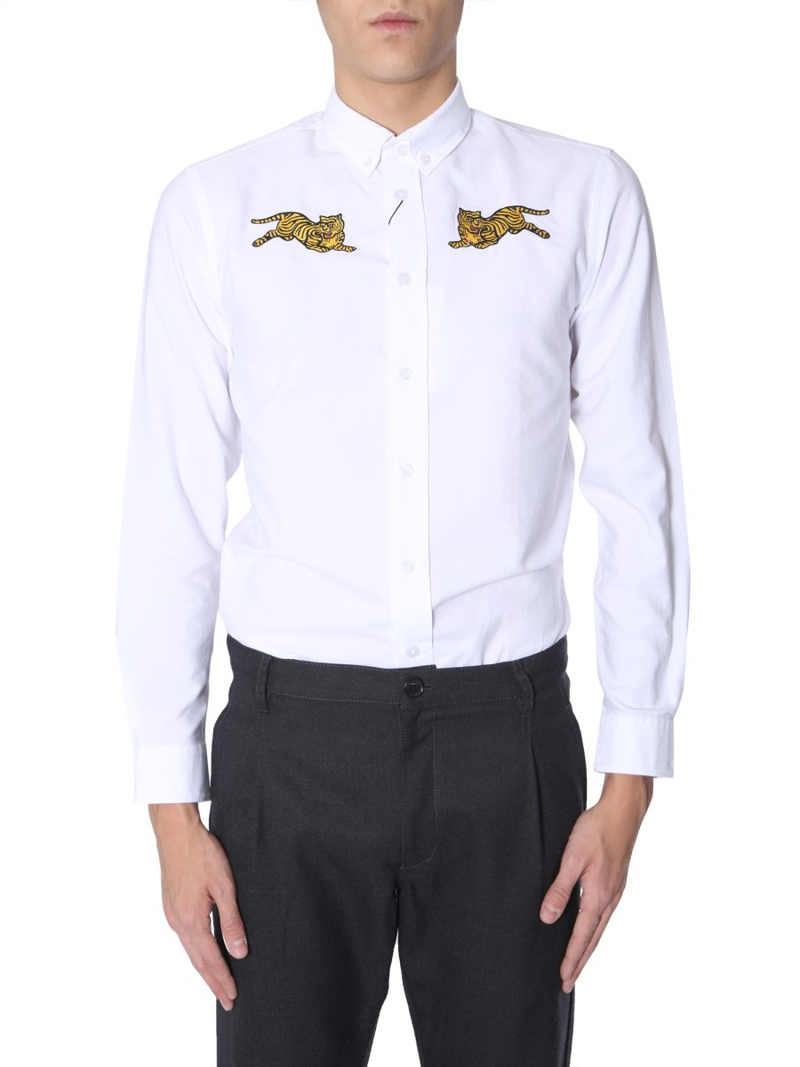 150a1749 Kenzo Tiger Detail Shirt In White | ModeSens