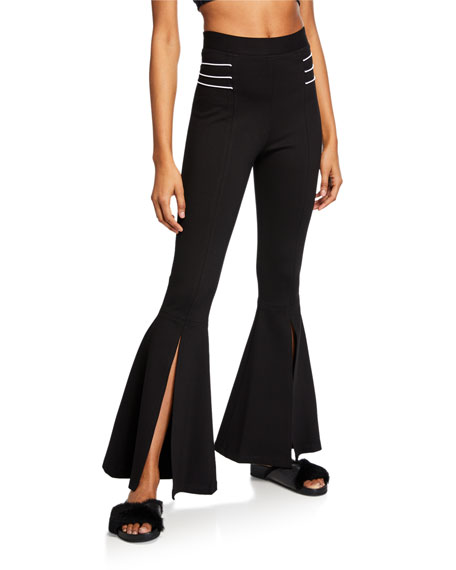 Cushnie High-Waist Front-Slit Flare Pants In Black/White