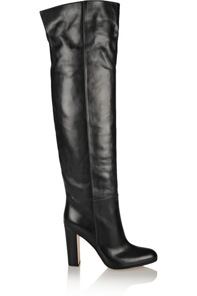Gianvito Rossi Woman Leather Over-The-Knee Boots Black