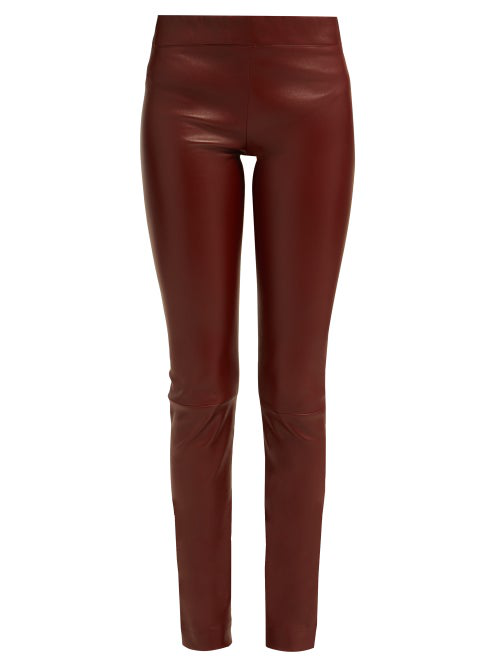e8abfb54496b03 The Row Moto Leather Leggings In Burgundy | ModeSens