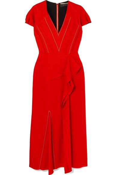 444aeecddf Roland Mouret Bates Ruffled Crepe Midi Dress In Red