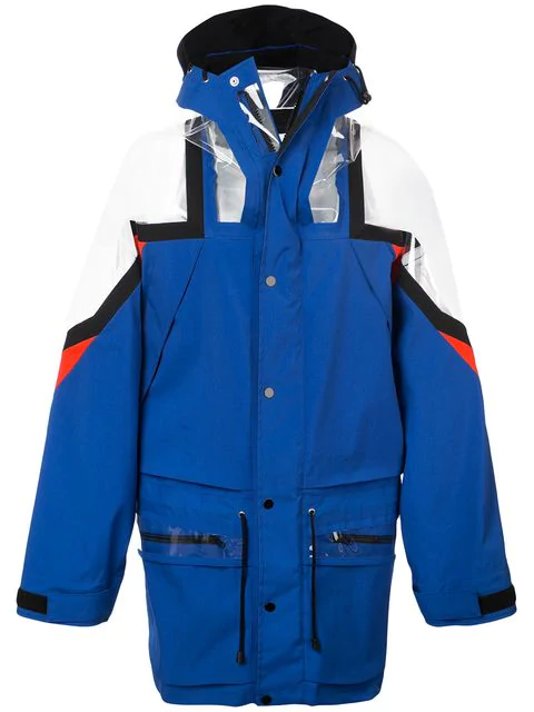 Maison Margiela Pvc-Panelled Technical Jacket In Blue