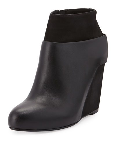 Vince Garren Leather Wedge Ankle Bootie, Black