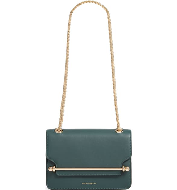 Strathberry Mini East/west Leather Crossbody Bag In Bottle Green