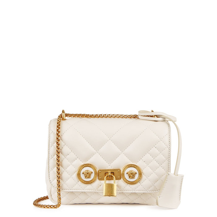 Versace Tribute Mini Leather Shoulder Bag In White