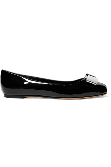 Salvatore Ferragamo Varina Bow-Embellished Two-Tone Patent-Leather Ballet Flats In Black