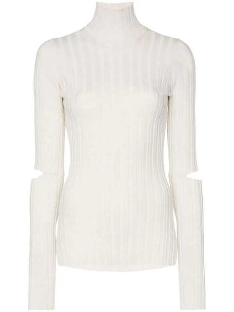 Helmut Lang Cutout Ribbed Wool Turtleneck Sweater In White