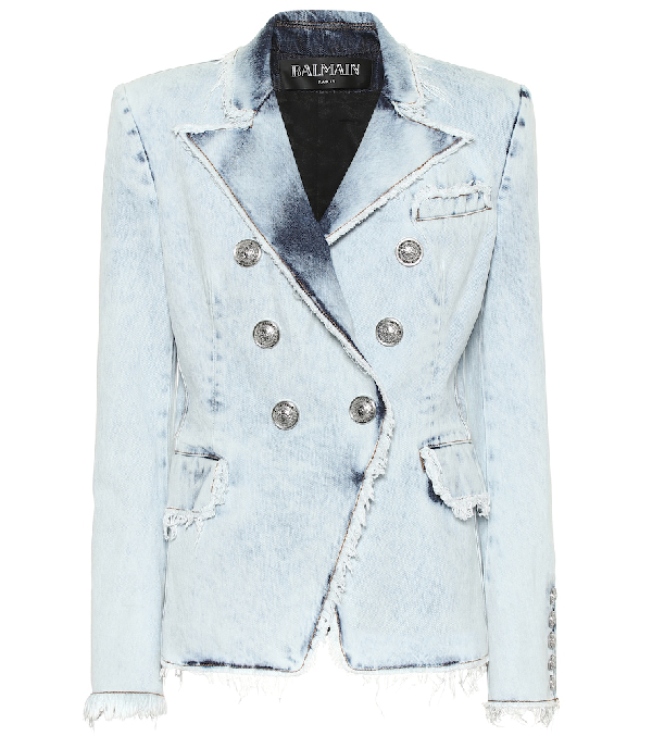 catch new cheap great quality Classic Double-Breasted Bleached Denim Blazer in Blue