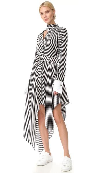 3e3d3ed67d1a Monse Asymmetric Striped Silk-Twill Midi Dress In White/Black | ModeSens