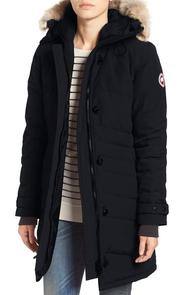 Canada Goose Lorette Hooded Down Parka With Genuine Coyote Fur Trim In Navy