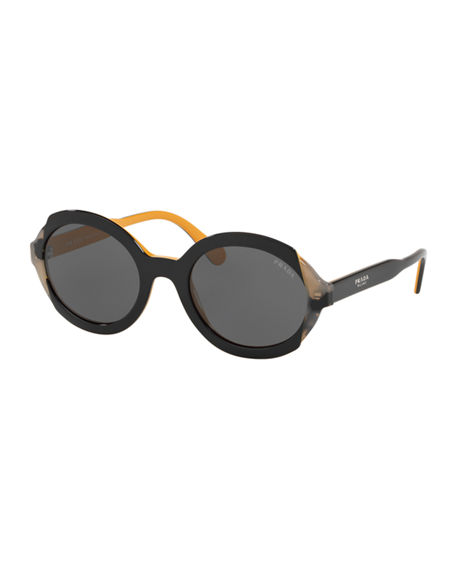 Prada Mirrored Acetate Sunglasses In Black/Yellow