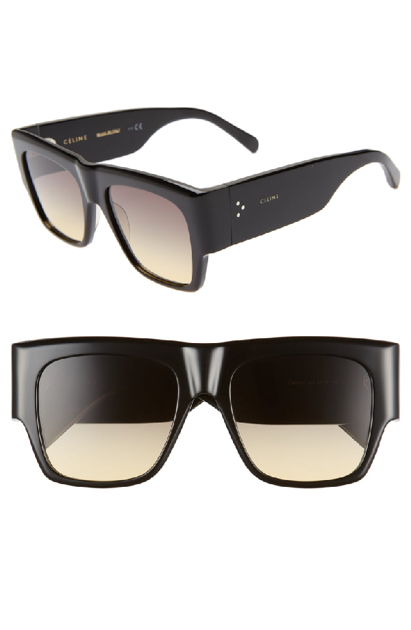 e570e4f78a Celine CÉLine 56Mm Special Fit Gradient Flat Top Sunglasses In Shiny  Blck Yell Grey Grad