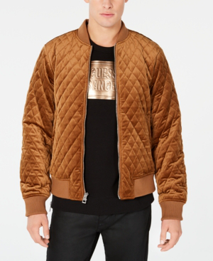 Guess Men S Quilted Velvet Bomber Jacket In Muted Gold