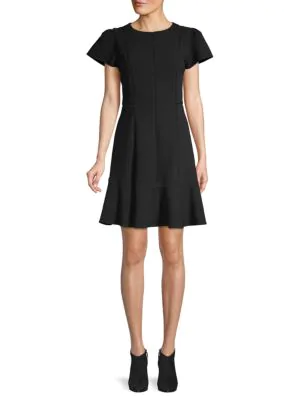 Rebecca Taylor Textured A-line Dress In Black