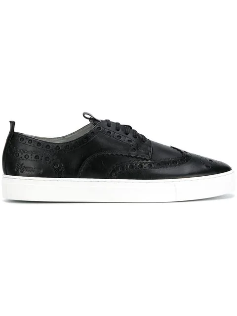 Grenson Sneaker 3 Wingtip Leather Sneakers In Black