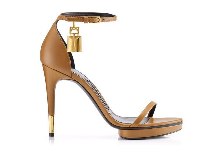 a6a81a71223 Tom Ford Padlock Ankle Strap Mini Platform Sandal In Whiskey