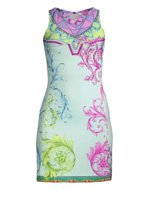 Versace Cindy Ferris Printed Sheath Dress In Light Blue
