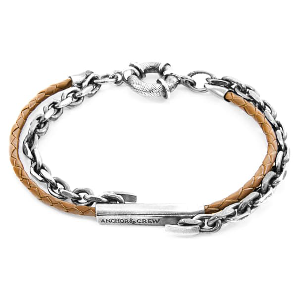 Anchor & Crew Light Brown Belfast Silver And Braided Leather Bracelet