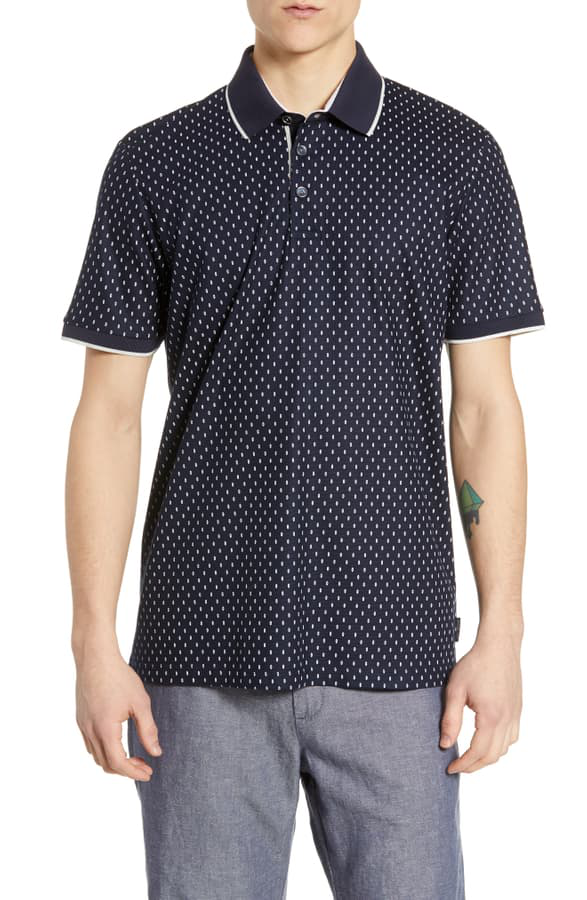 Ted Baker Toff Geo-Print Regular Fit Polo Shirt In Navy