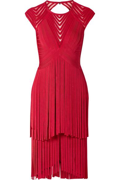 Herve Leger Fringed Tulle-trimmed Open-back Bandage Dress In Red