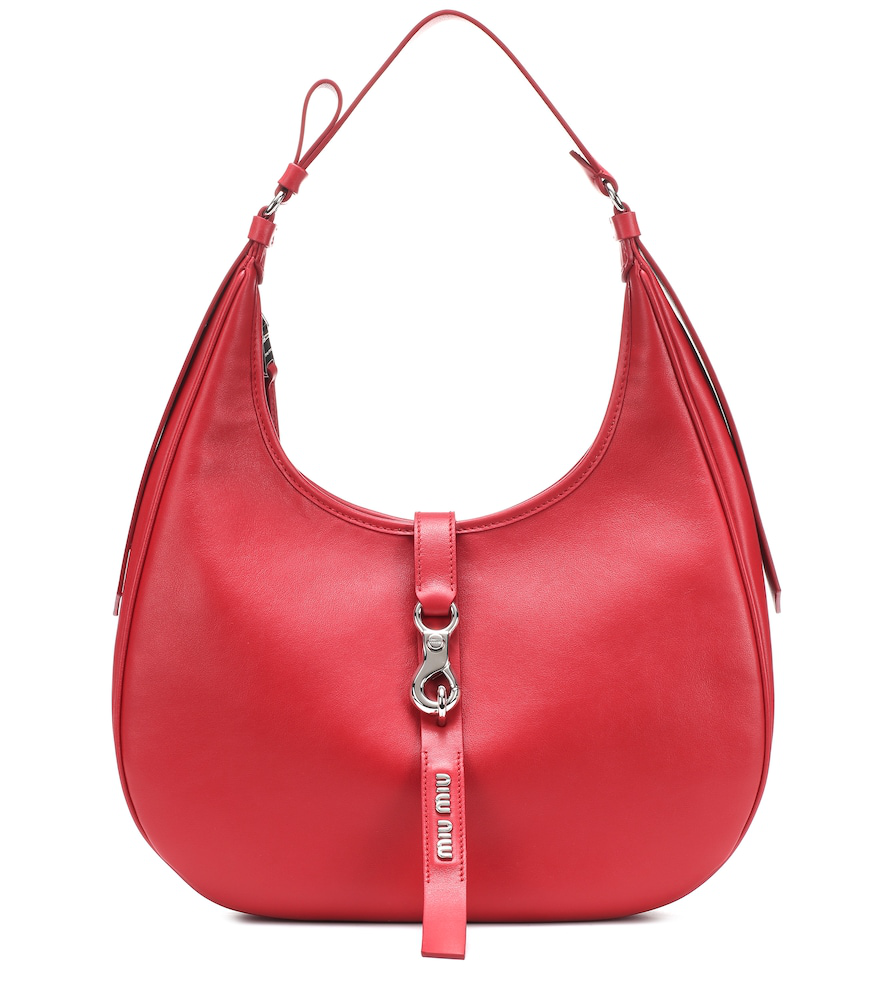Miu Miu Leather Shoulder Bag In Red