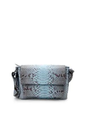 Nancy Gonzalez Python Shoulder Bag In Aqua