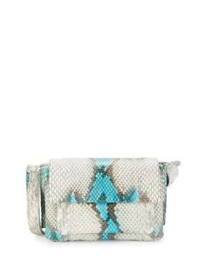 Nancy Gonzalez Python Shoulder Bag In Light Blue