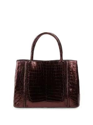 Nancy Gonzalez Crocodile Leather Satchel Bag In Burdeaux