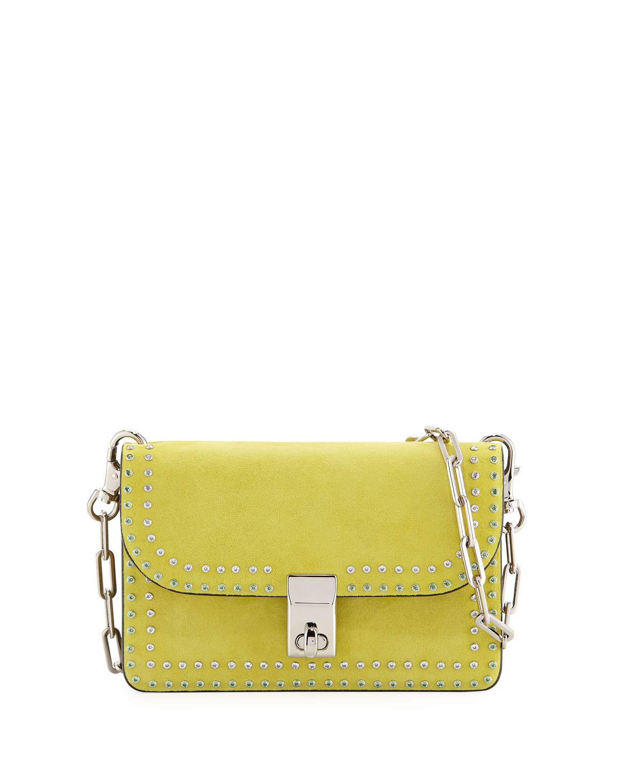 85f72de631f Valentino Studded Suede Shoulder Bag In Acid Yellow | ModeSens