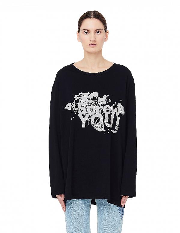Yohji Yamamoto Black Printed L/S T-Shirt