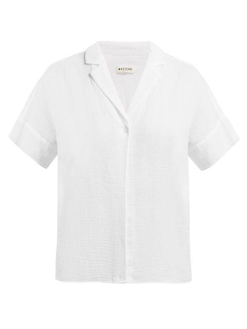 Masscob Vega Short Sleeve Cotton Blouse In White