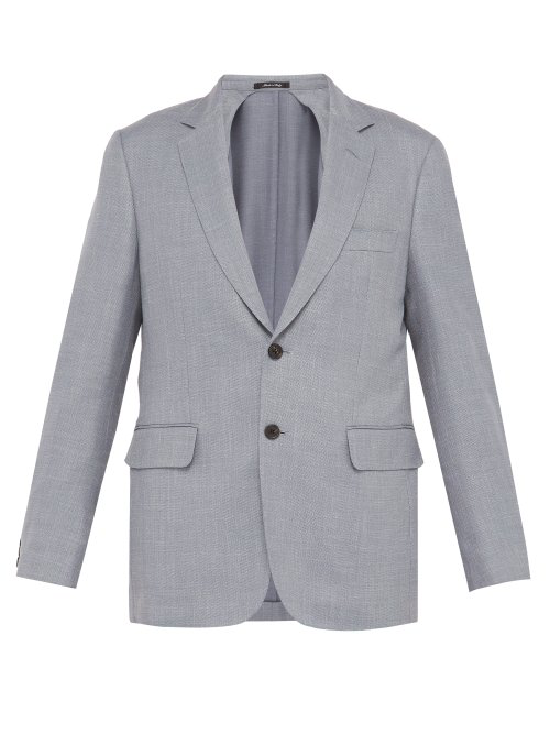 Dunhill Single Breasted Wool Blend Blazer In Blue