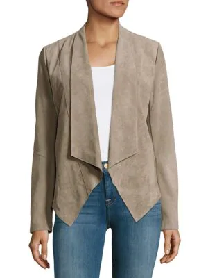 T Tahari Jaimee Textured Leather Open-front Jacket In Vicuna