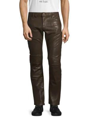 Robin's Jean Motard Moto Jeans In Brown Coat