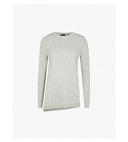 Ted Baker Asymmetric Wool-Blend Jumper In Grey
