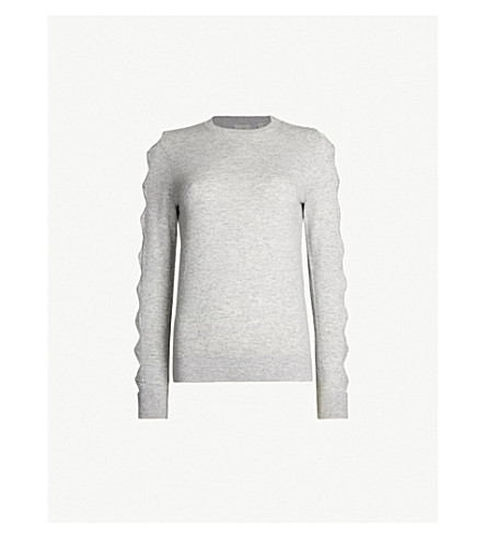 Ted Baker Danikaa Bow-Detail Knitted Waffle-Knit Jumper In Light Grey
