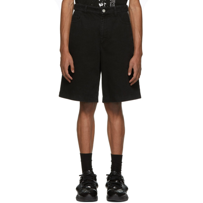 Raf Simons Black Denim Patch And Tag Shorts