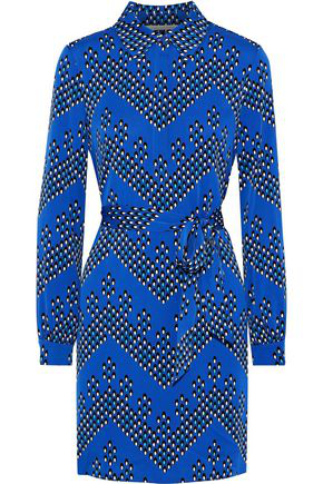 Diane Von Furstenberg Woman Pussy-Bow Printed Silk-Blend Mini Dress Bright Blue