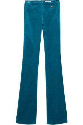 Versace Collection Woman Velvet Flared Pants Teal