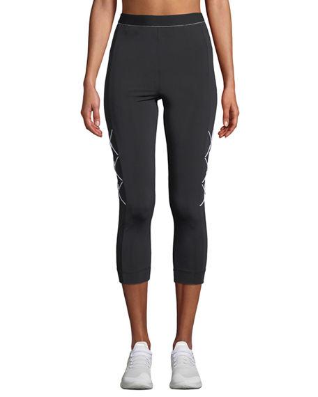 Cushnie High-Waist Cropped Leggings With Cording In Black/White