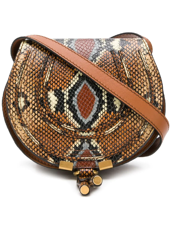 8796ad6412 ChloÉ Nile Small Python-Effect Leather Cross-Body Bag In Brown ...