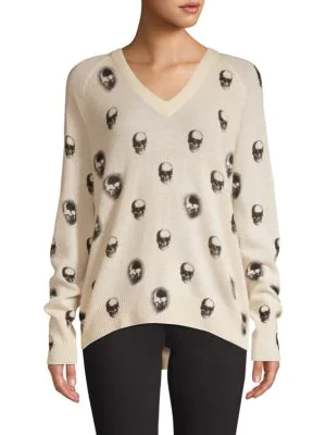 360cashmere Skull-print Cashmere Sweater In Lunar