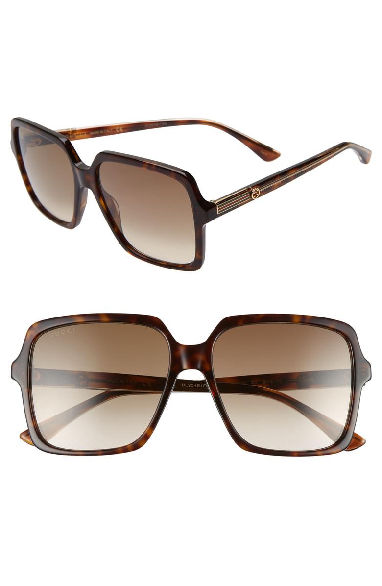 1420471e9 Gucci 56Mm Square Sunglasses - Dk Havana/Cry/Brown Gradient | ModeSens