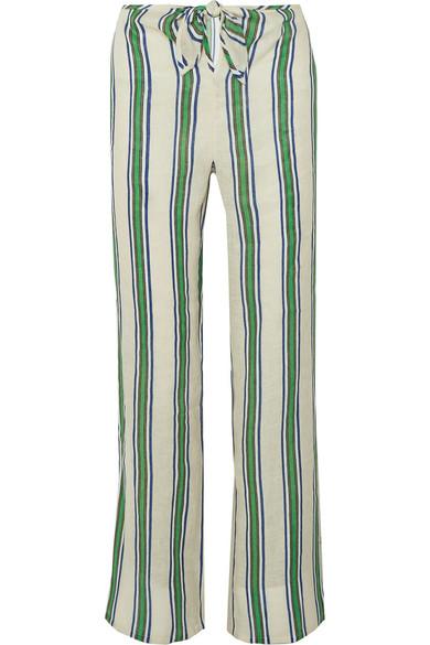 Tory Burch Kellen Striped Tie-Front Linen Beach Pants In Blue