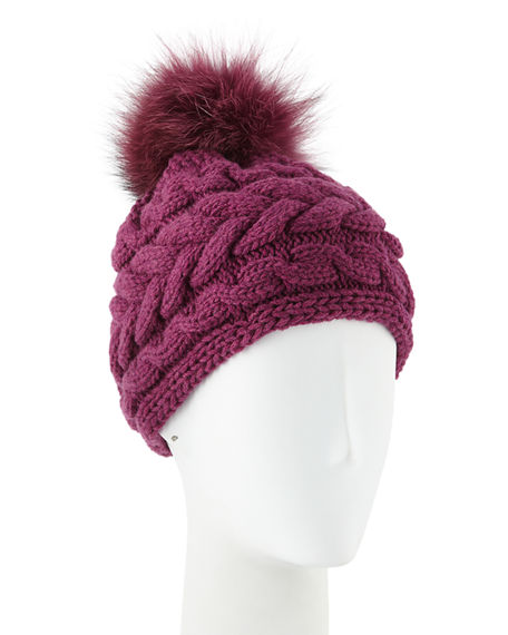 Inverni Cashmere Cable-Knit Beanie W/ Fur Pompom In Berry