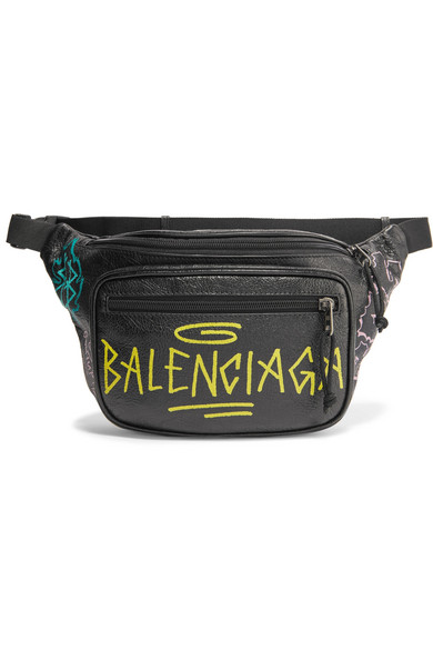 Balenciaga Explorer Graffiti Printed Textured-leather Belt Bag In Black