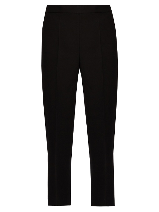 Calvin Klein Collection Jeno Wool And Silk-blend Cropped Trousers In Black