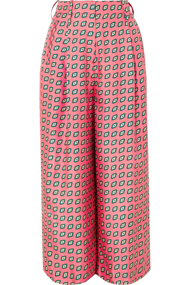 Etro Printed Cropped Silk-twill Wide-leg Pants In Pink